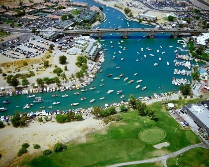 Aerial shot of the London Bridge Channel at Lake Havasu City, AZ.    Big parties, big boats, and big fun!