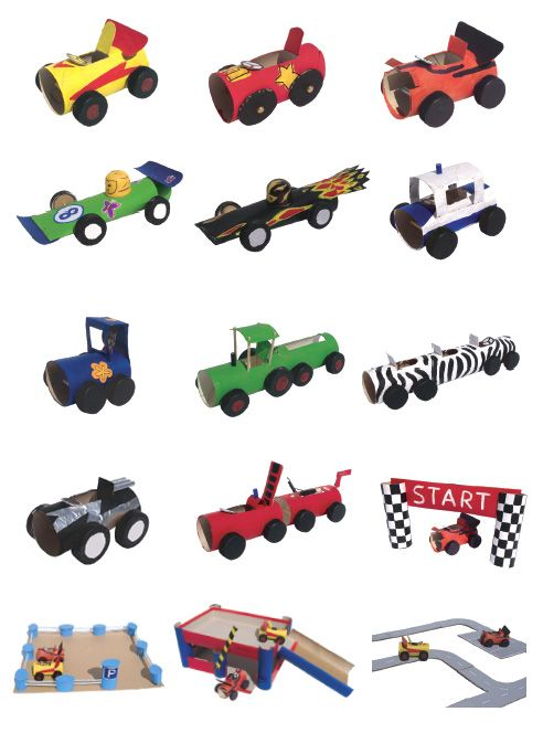 Autos aus Papprollen basteln - DIY Paper Roll Cars