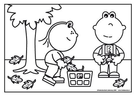 Frokkie en Lola zijn druk in de tuin. Het is herfst en er zijn heel veel bladeren van de bomen gevallen. Ze ruimen ze allemaal op.