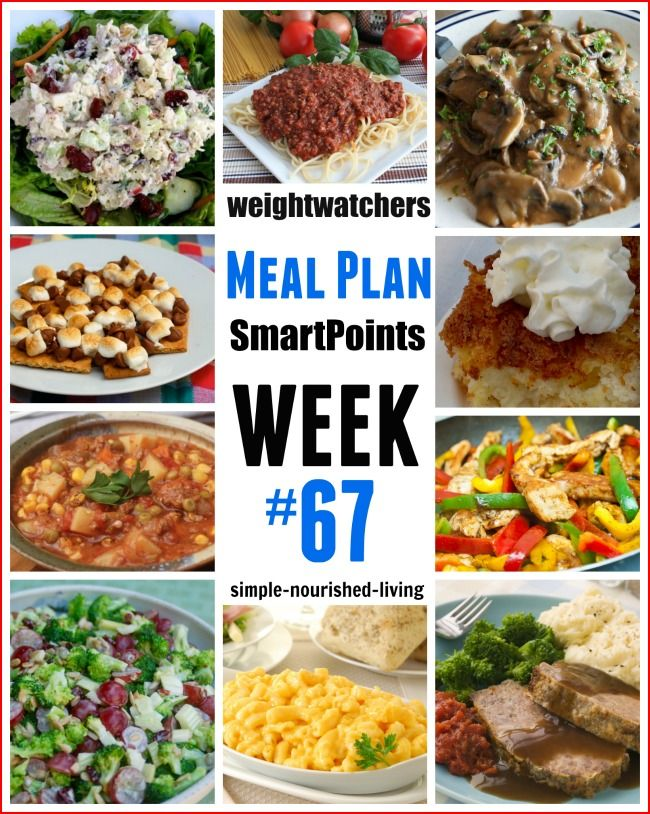 Weight Watchers Weekly Meal Plan 67 SmartPoints - Breakfast, Lunch, Dinner, Dessert, Snacks. http://simple-nourished-living.com/2016/03/weight-watchers-weekly-meal-plan-67-smartpoints/
