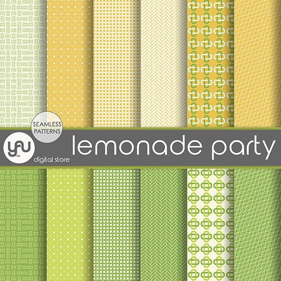 """Geometric digital paper: """"LEMONADE PARTY"""" with geometric seamless patterns in yellow and lime green, geometric paper, lemonade digital paper"""
