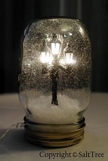 DIY Instructions. Miniatures in a Jar. streetlamp miniature + fake snow + white glitter + mason jar