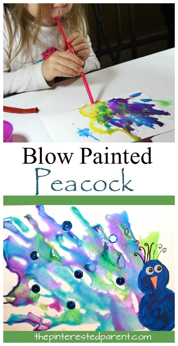Straw Blown Peacock Painting - fun kid's arts and crafts projects. Blow painting is great for preschool and kindergarten