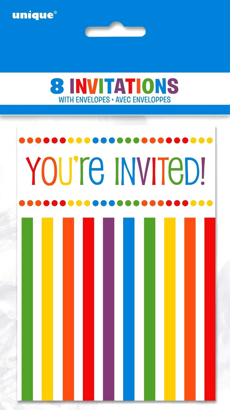 You're Invited Rainbow Polka Dots and Stripes Party Invitations - 8 Pack