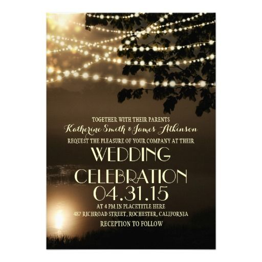 Night Lights Nature Inspired Wedding Invitation