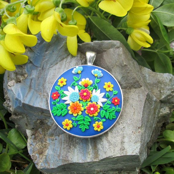 ready to ship jewelry multicolor colorful gift for her fashion style trendy boho hippie necklace pendant by FloralFantasyDreams on Etsy