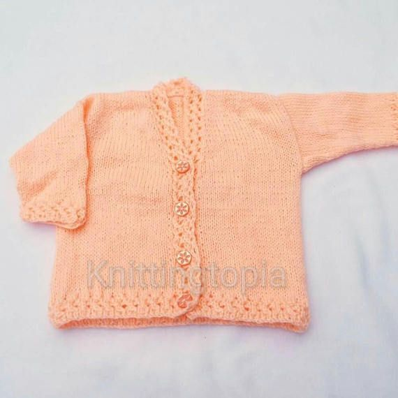 Hand knitted peach baby cardigan 6 - 12 months - Handmade baby clothes - baby £20.00
