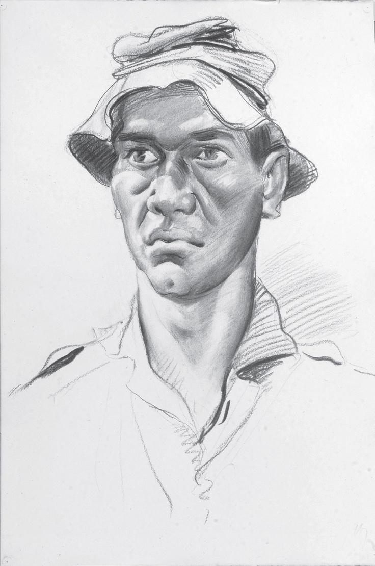 McFadyen, Ken 'Forward scout, B Company, 2 RAR 1967–1968', charcoal and rubbing out on paper, 58.4 x 39 cm.  #kenmcfayden #vietnamoncanvas #sandrafingerlee #vietnamwar #warart #charcoal #sketch