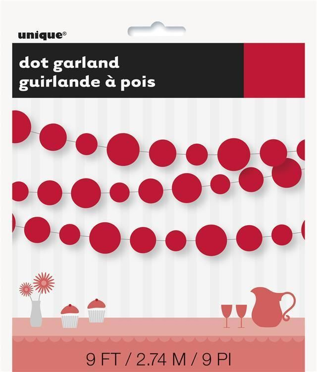 2 X Red Dots Paper Garland Banner Decoration - Valentines Day/Christmas