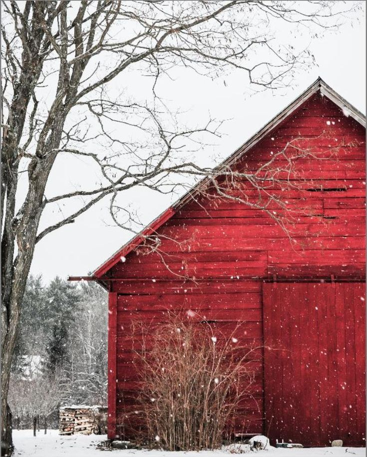 The Snowy Red Barn – Christmas scenery , winter , snow photography, landscape, nature, old barn, fine art print