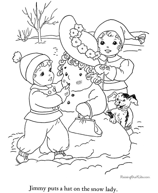 Kids Winter Coloring Pages Free Printable SnowLady Featuring Book Page Sheets