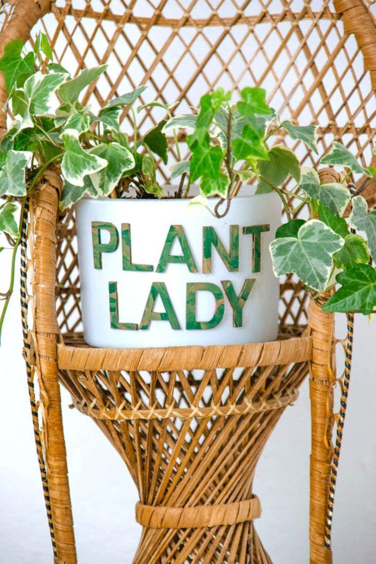 Plant Lady Blumentopf Basteln Upcycling Idee Aus Kerzenglas Diy Ubertopf Topfblumen Basteln