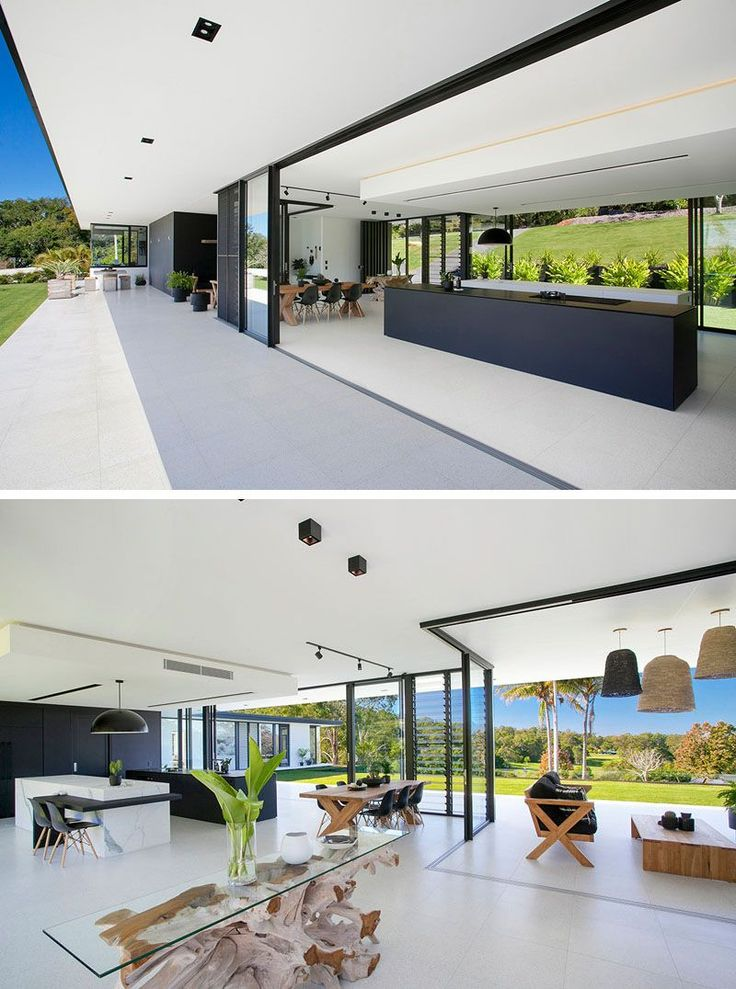 The main living area of this home is open to the backyard, with large overhangs providing shade for the interior, important for those hot Australian days.