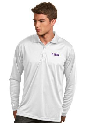 Antigua Men's Lsu Tigers Long Sleeve Exceed Polo - White - 2Xl