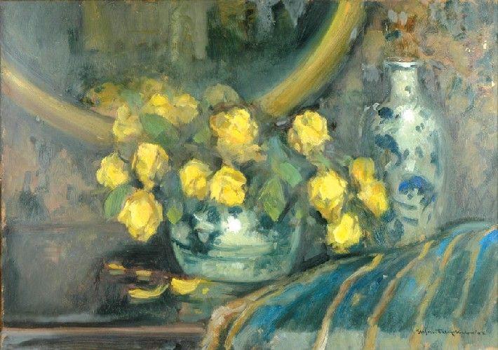 Stefan FILIPKIEWICZ (1879 - 1944)  Żółte róże w wazonie olej, tektura, 49 x 68,5 cm