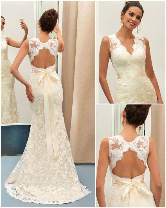 Charming V Neck Backless Lace Mermaid Wedding Dress  ArthursJewelers ... b08093369d2f