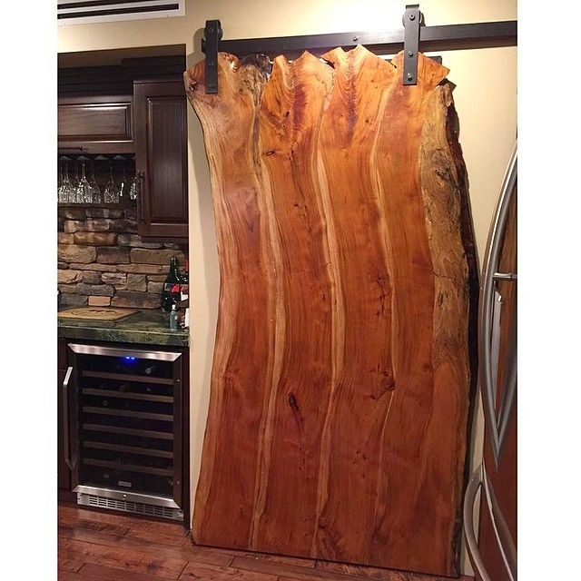 Rustic Live Edge Sliding Barn Door Hung With Rustica