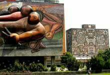 20 de noviembre de 1952, el presidente Miguel Alemán Valdez, inaugura la Ciudad Universitaria, proyecto de Mario Pani y Enrique Del Moral, con murales de Rivera, Siqueiros y O' Gorman, considerada un conjunto ejemplar del modernismo del siglo XX . 4 de 4