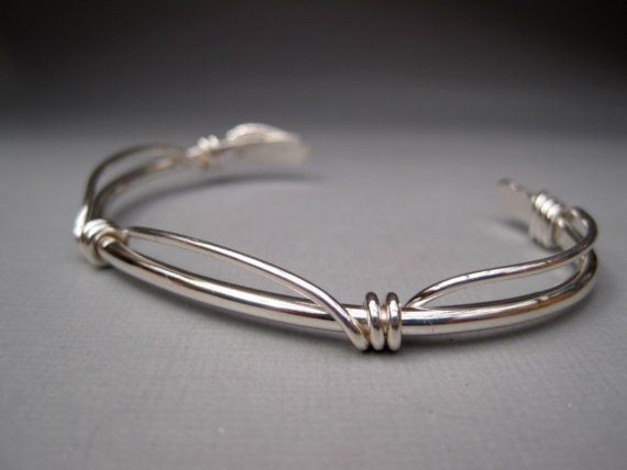 Sterling Silver Cuff with Knots by lesleytinnaro on Etsy, $62.00