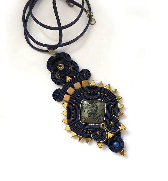 Navy blue gold pyrite necklace Statement retro necklace