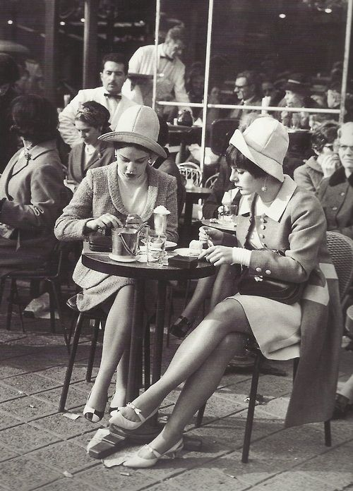 1960: Two ladies at a cafe on the Champs-Elysees, Paris