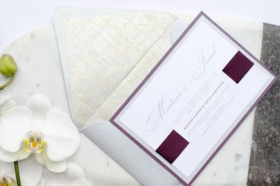 The Posh Suite –  A shimmery deep purple and silver wedding invitation by Simply Sleek Designs, from the Simply Chic Collection