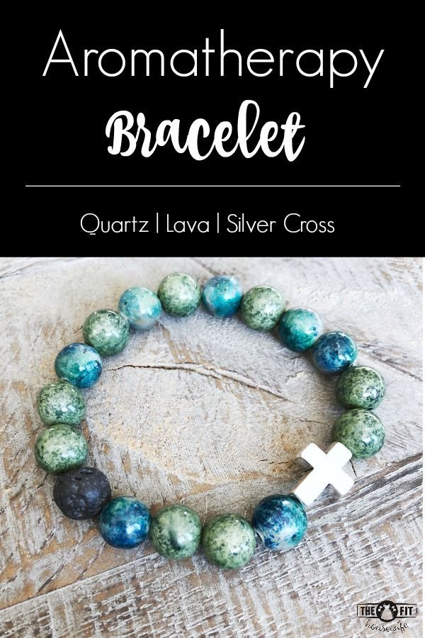 Quartz Essential Oil Diffuser Bracelet. Includes a silver cross and lava bead. A beautiful way to enjoy your essential oils all day! #diffuserbracelet #aromatherapy #lavabeadbracelet