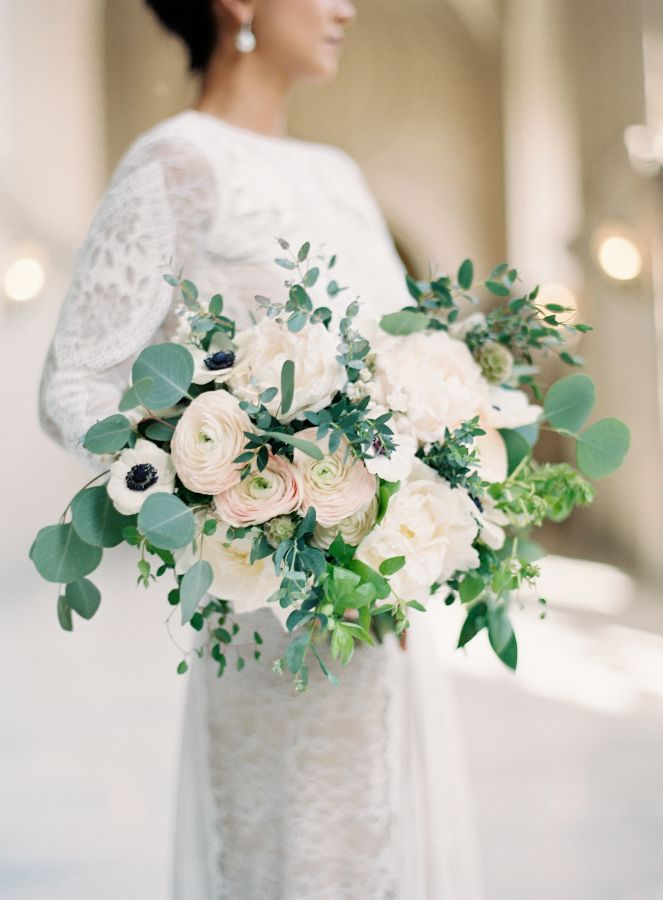 Gorgeous white anemone, ranunculus + peony bouquet: http://www.stylemepretty.com/california-weddings/san-francisco/2016/07/01/all-the-reason-to-get-married-at-city-hall/ | Photography: Esmeralda Franco - http://esmeraldafranco.com/