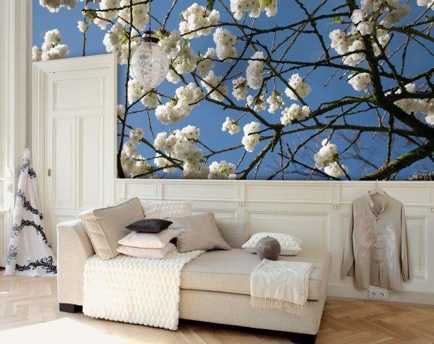 Fotobehang met bloesem. Met fotobehang pas je een ruimte helemaal naar jouw wensen aan. dit vrolijke behang met bloesems haalt het buitenleven een beetje naar binnen. Eijffinger