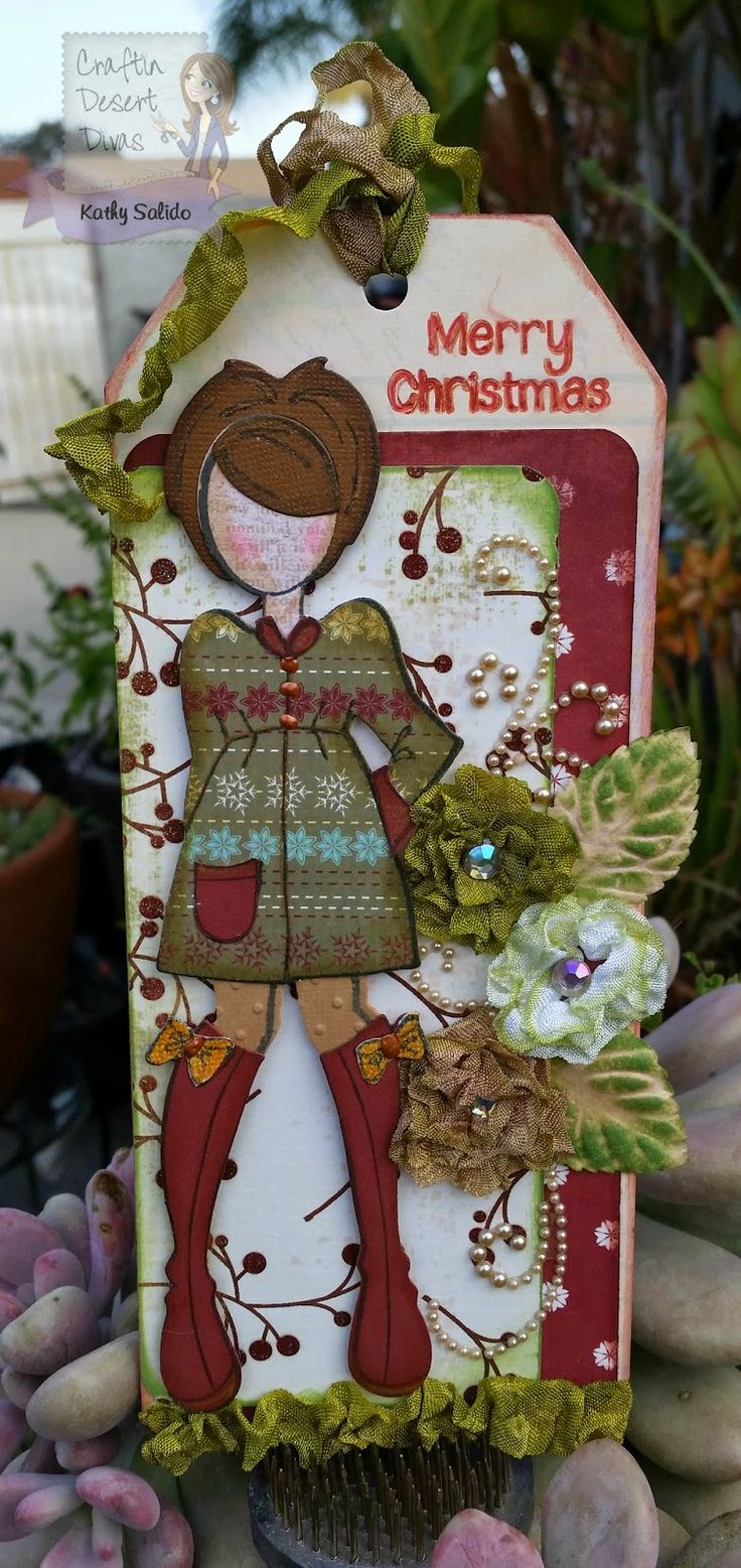 CDD Stamps Holly Day Punnies, Prima Doll Stamps Gracie, Lovebug Creations Rumple Ribbon