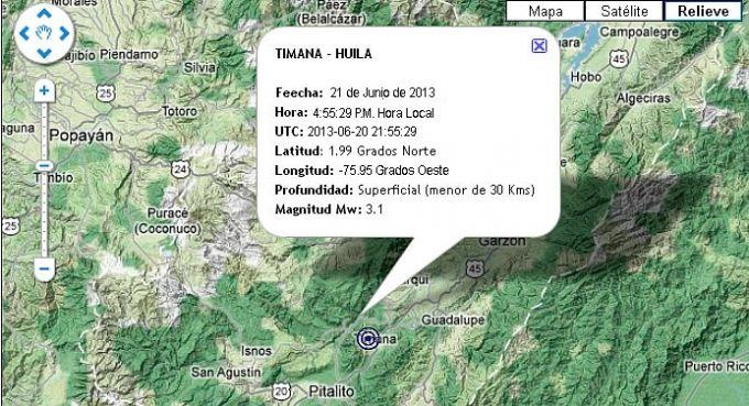 Ayer tembló en Timaná, 3.1 grados en la escala de Richter - ¬ Somos Muchos... Tenemos mucho en común