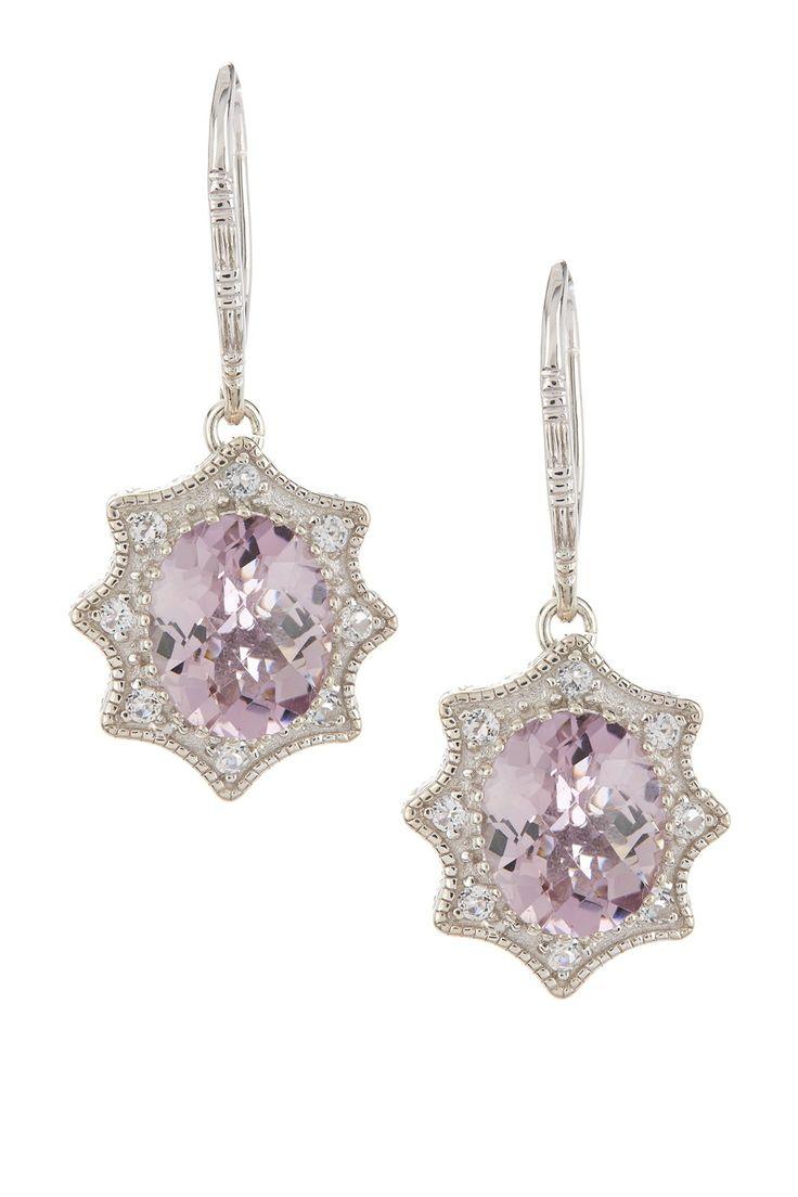 Sterling Silver Pink Amethyst & White Topaz Drop Earrings