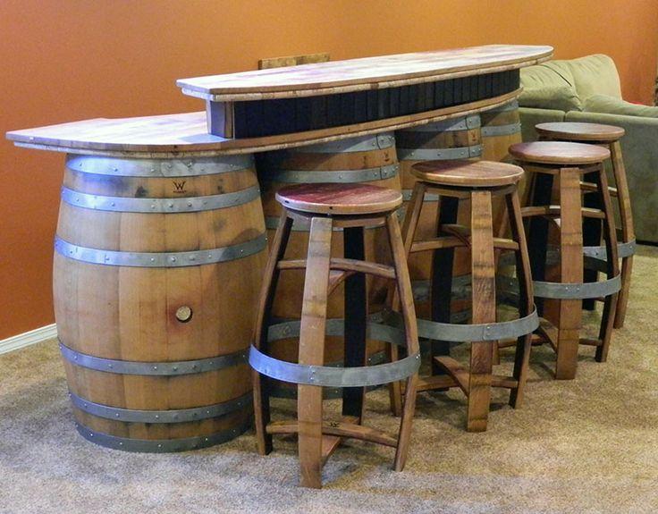 91 best outdoor party images on pinterest wine barrels for Diy whiskey barrel bar