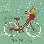 bicicleta antigua : Andar en bicicleta en estilo, postal de Navidad