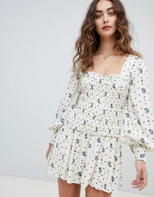Free People Two Faces ruched waist mini dress in 2019  670c50cd1