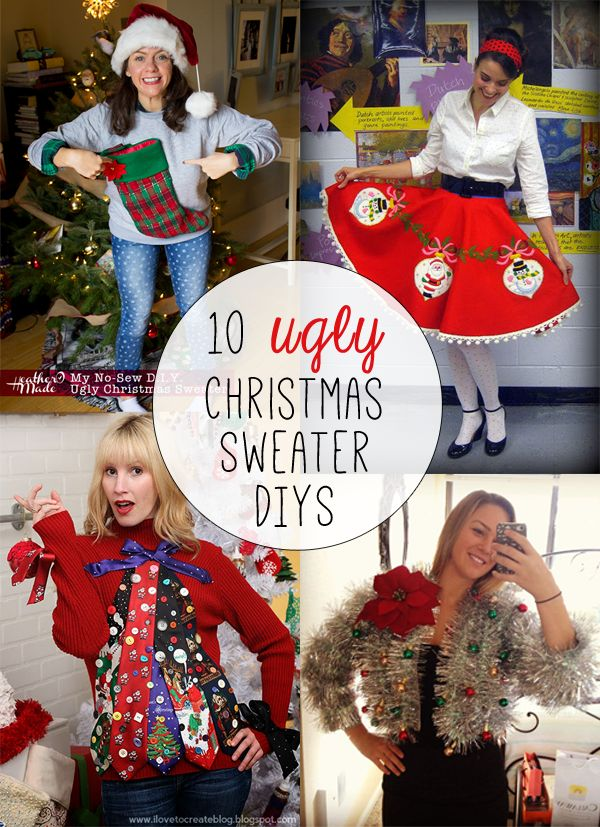 Ugly Christmas sweaters are a lot of fun, but can expensive. Enter a few cheap ugly Christmas sweater DIYs that will make your tackiest dreams come true!