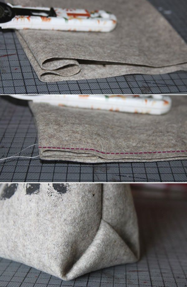 Origamiecken bei Taschen- das geht so einfach! Am schönsten wird das aus etwas steiferen Materialien wie Leder oder Filz.
