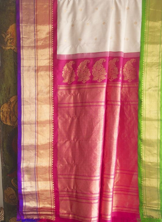 Handloom Andhra Gadwal silk saree hand-picked from rural India by Omnah.