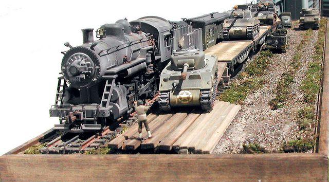 Unloading Shermans.
