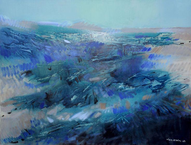 Esko Tirronen Sininen maisema 1964 Öljy kankaalle Kouvolan taidemuseo, Amos Andersons konstmuseum