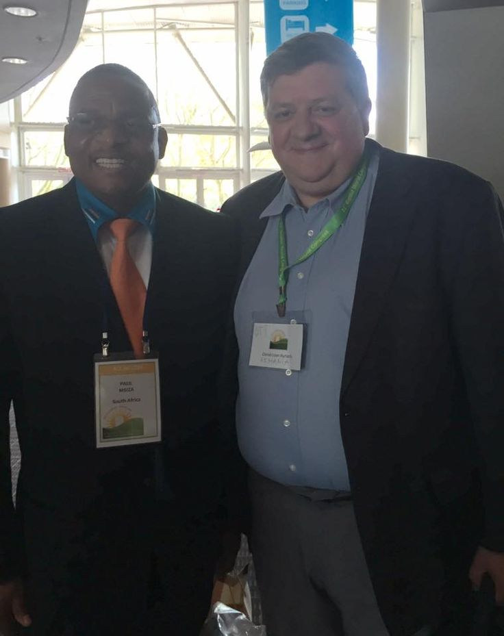 Paul Msiza of South Africa (left), BWA president-elect for 2015-2020, and Otniel Bunaciu of Romania (right), at the 2015 World Congress in Durban. Photo provided by Otniel Bunaciu.