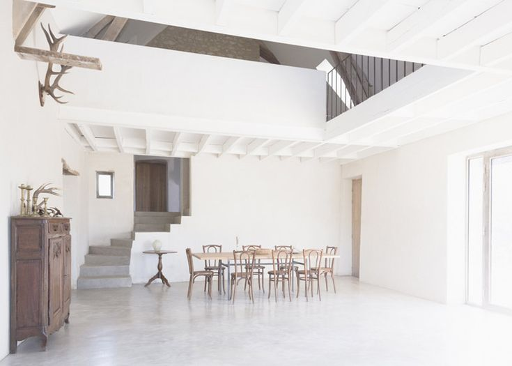 Rustic and extremely modern! #decor (Old French farmhouse converted into a holiday home.)