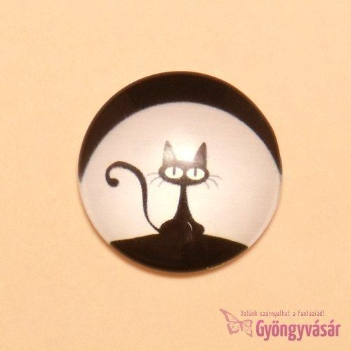 Fekete cica mintás, 25 mm-es üveglencse