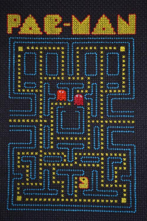 Pac-Man cross stitch