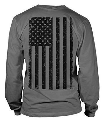 Men's Long Sleeve Tee with BIG Black American Flag Design