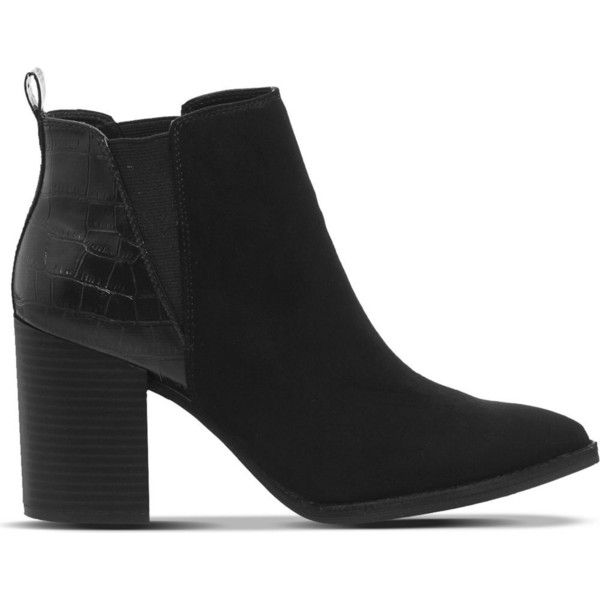 Office Isabella point block chelsea ($67) ❤ liked on Polyvore featuring shoes, boots, ankle booties, black booties, faux suede boots, high heel booties, chelsea boots and black suede ankle booties