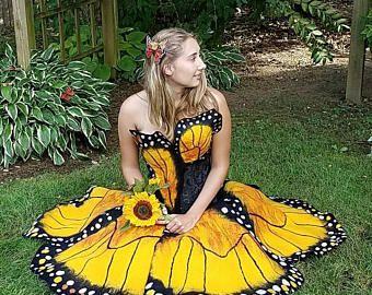 Vestido de hadas de fieltro mariposa adulta. Cosplay de la mariposa monarca. Vestido de novia se alternan. Ardiente hombre naranja y negro traje de la mariposa.