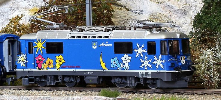 """The German/Swiss model railroad company BEMO released a model of 622 in a special """"Arosa Express"""" livery. However, this colorful paint scheme was not used on the real 622 though."""