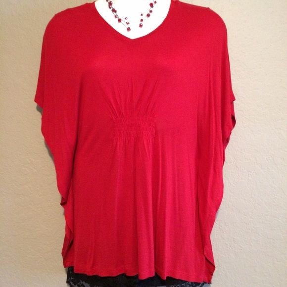 Red Top Bright red top with batwing like arms. Cato Tops
