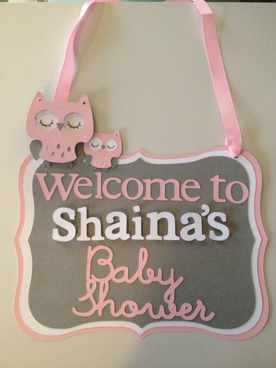 Pink and Gray Owl Custom Door Sign Baby Shower Decoration on Etsy, $12.00